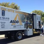 ASDD parked their truck in the parking lot so guests could get their documents shredded on site